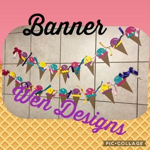 Other - Ice cream cone banner personalized
